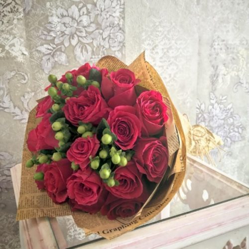 Fuschia Bouquet by Pari Flowers Bahrain Delivery